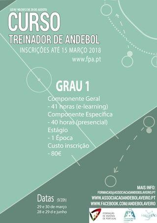 Cartaz Curso de Treinadores de Grau 1 – AA Aveiro 2018