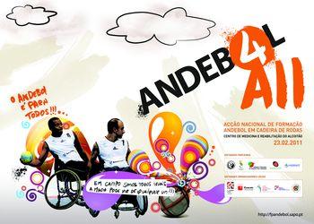Cartaz da Acção Nacional de Formação de Andebol em Cadeira de Rodas - Alcoitão, 23.02.2011
