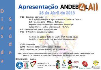 Cartaz Acção de Formação de Andebol Adaptado em Vila Nova de Gaia a 26 de Abril