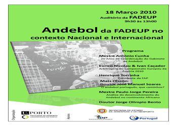 Cartaz Seminário FADEUP - O Andebol da FADEUP no contexto Nacional e Internacional