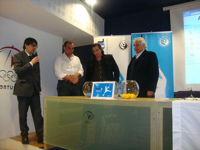 Sorteio Fase Final Andebol 1 2012-13 - Luis Pacheco (FAP), Luis Gomes (SLB), Fernando Nunes (SCP) e José Magalhães (FC Porto Vitalis)