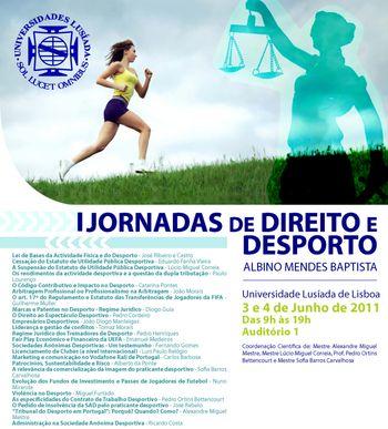 Cartaz I Jornadas de Direito e Desporto Albino Mendes Baptista