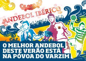 Cartaz do Torneio de Andebol Ibérico na Póvoa do Varzim de 20 a 22 de Agosto