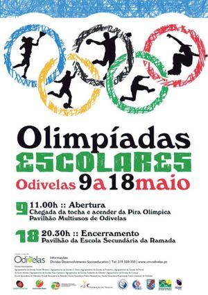 Cartaz Olimpíadas Escolares - 9 a 18 de Maio - Odivelas