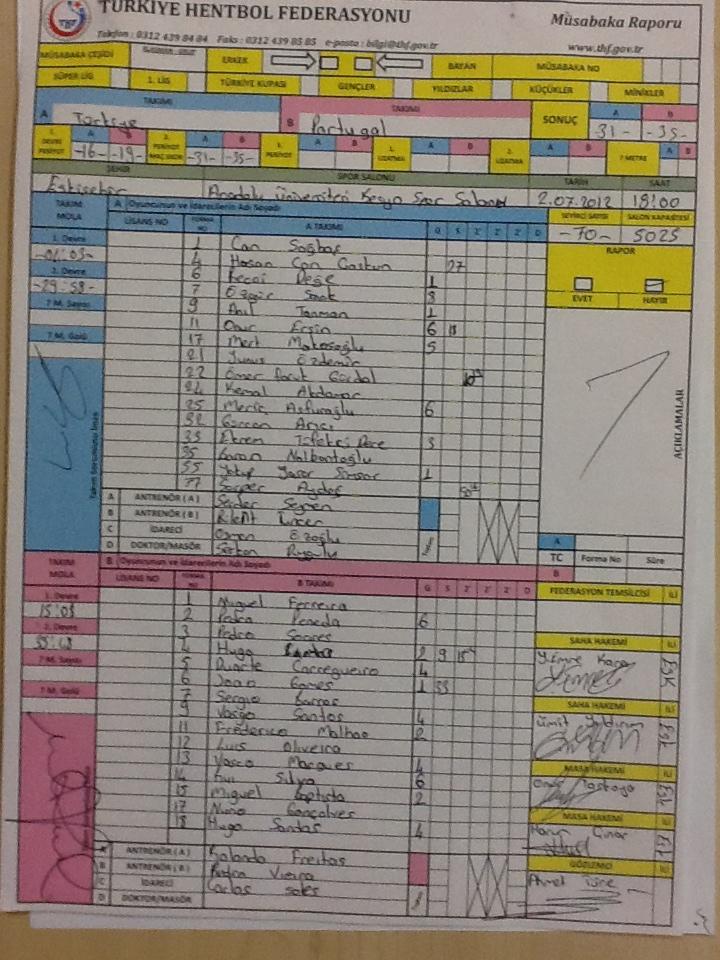 Boletim jogo Portugal-Turquia - Jun. A - 2.º jogo