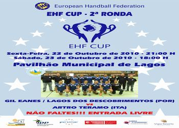 Cartaz Gil Eanes-Artro Teramo - 2ª eliminatória Taça EHF