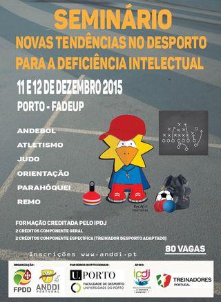 """Cartaz Seminário """"Novas Tendências no Desporto para a Deficiência Intelectual"""