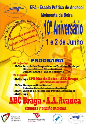Cartaz Comemorações dos 10 anos da Escola de Andebol de Moimenta da Beira