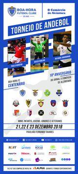 Cartaz 1º Torneio Andebol do Centenário do Boa-Hora FC/ 10º aniversário do Jornal O Comércio de Alcântara