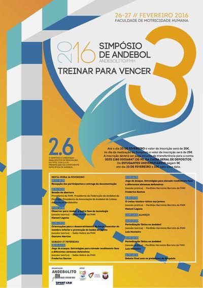 """Cartaz 3º Simpósio de Andebol """"Treinar para Vencer"""" a 26 e 27 de Fevereiro na FMH"""