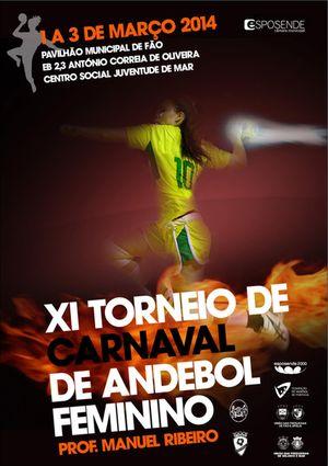 Cartaz XI Torneio de Carnaval de Andebol Feminino - Prof. Manuel Ribeiro