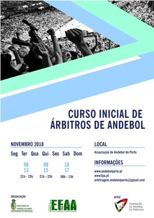 Cartaz 1º Curso Inicial Árbitros AA Porto