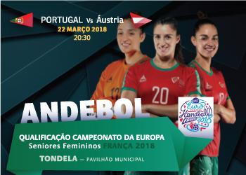 Cartaz Portugal : Áustria - qualificação Europeu 2018 Seniores Femininos - Tondela, 22.03.18
