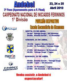 Cartaz 3ª Fase Campeonato Nacional 1ª Divisão Iniciados Femininos - 23 a 25.04.10, Alcanena
