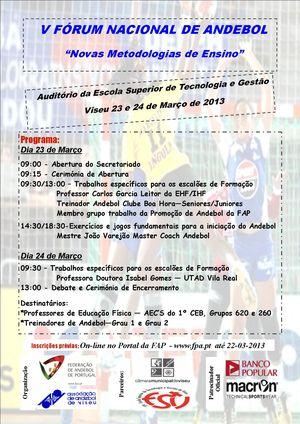 Cartaz Programa V Fórum de Viseu - 23 e 24.03.13