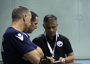 Equipa técnica de Portugal no último treino antes do jogo com Macedónia