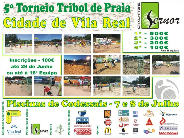 Cartaz 5º Torneio Tribol de Praia Cidade de Vila Real / Sernor Caixilharias