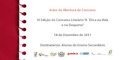 """VI Edição do Concurso Literário """"A Ética na Vida e no Desporto"""""""