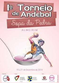 Cartaz do Torneio Andebol Sopa da Pedra - Almeirim 2014