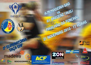 Cartaz AM Madeira And. Sad - A1 Bregenz - 3ª eliminatória EHF Cup