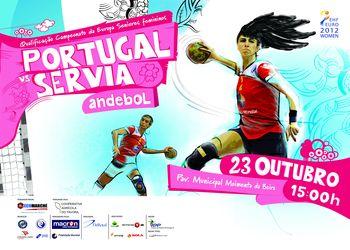 Cartaz Portugal - Sérvia - qualificação ECH seniores femininos 2012