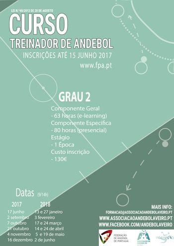 Cartaz Curso de Treinadores de Andebol de Grau 2 - Aveiro