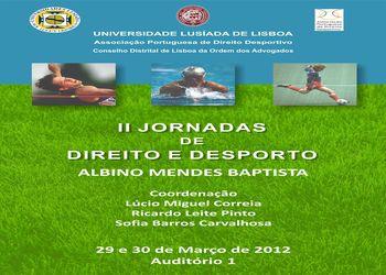 Cartaz II Jornadas Direito e Desporto - 29 e 30 de Março 2012