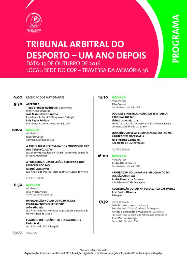 Programa Conferência: Tribunal Arbitral do Desporto – Um Ano Depois