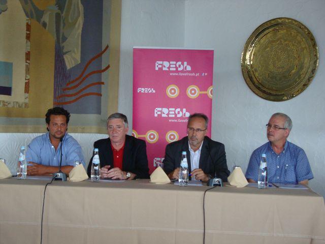 Hugo Pereira, Dr. Ulisses Pereira, Dr. Augusto Pólvora e Miguel Sousa - Sorteio da fase final do Circuito Nacional de Andebol de Praia 2013