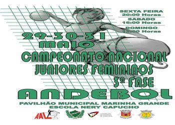 Cartaz Fase Apuramento do Campeonato Nacional de Juniores Femininos - 29 a 31.05.15