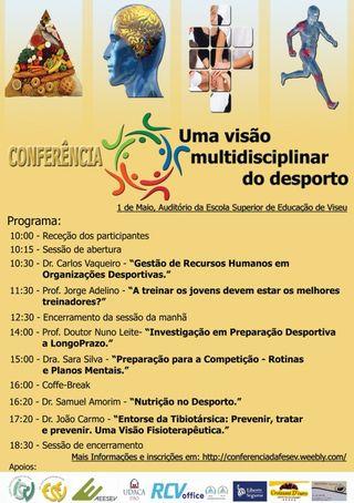 """Cartaz Conferência """"Uma visão multidisciplinar no Desporto"""""""
