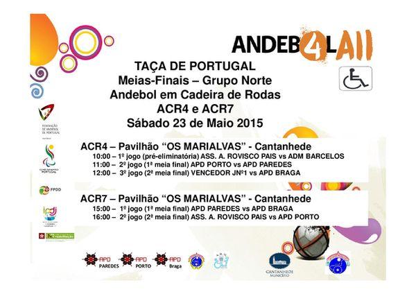 Cartaz 1/2 final da Taça de Portugal (Norte) de Andebol em Cadeira de Rodas