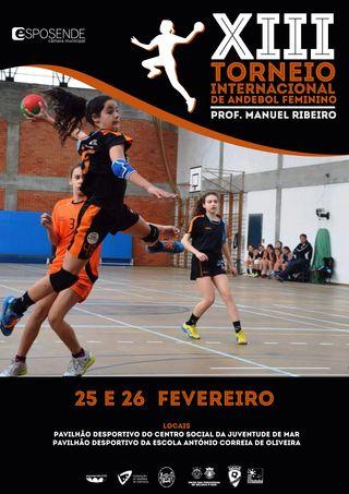 Cartaz do XIII Torneio Internacional de Andebol Feminino Prof. Manuel Ribeiro