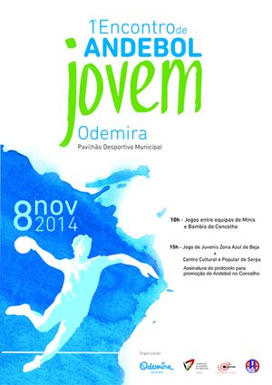 Cartaz 1º Encontro de Andebol Jovem em Odemira - 8 de Novembro de 2014