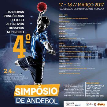 """Cartaz 4º simpósio de Andebolito/ FMH - """"Das novas tendências do Jogo aos novos desafios do Treino"""""""