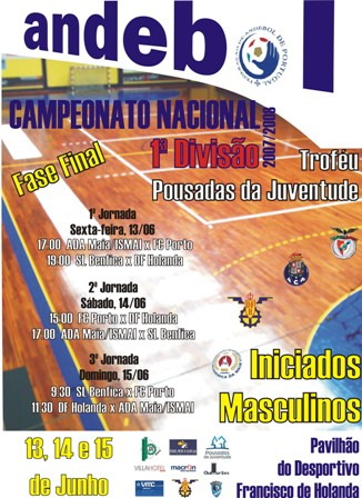 Cartaz Fase Final CN 1ª Div Iniciados Masculinos - Troféu Pousadas da Juventude