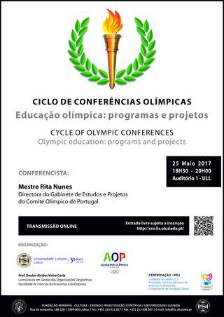 """Cartaz Conferência """"Educação Olímpica - programas e projetos"""""""