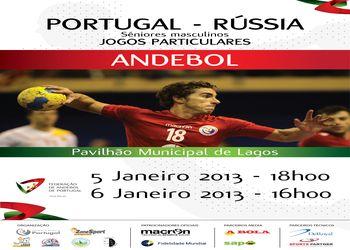 Cartaz Portugal : Rússia - seniores masculinos - 5 e 6 Janeiro 2013