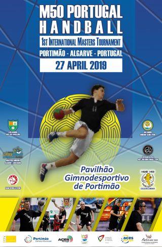 Cartaz 1º Torneio de Andebol Masters M50 Portugal Handball / Portimão 2019