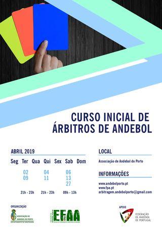 Cartaz AA Porto - 2º Curso inicial de árbitros da época 2018/19
