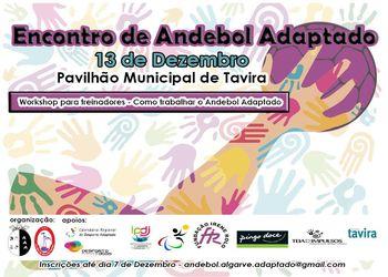 """Cartaz Encontro Regional de Andebol Adaptado e Workshop """"Como trabalhar o andebol adaptado"""" - Tavira, 13.12.18"""