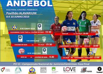 Cartaz - Fase Final do Campeonato Nacional de Juniores Femininos 2018/2019 - Aveiro