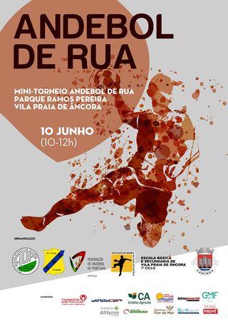 Cartaz - Mini torneio de Andebol de Rua - Vila Praia de Âncora - 10 de junho 2019